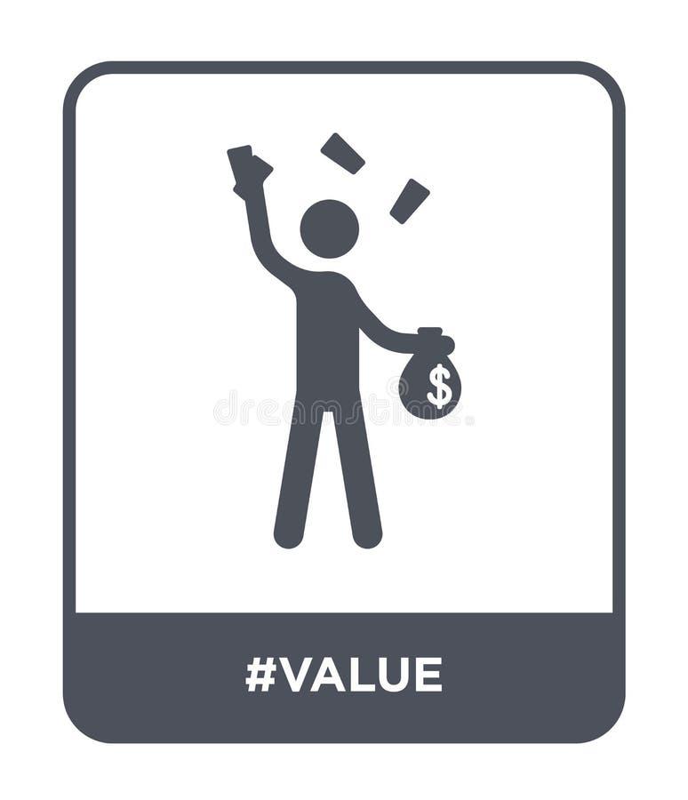 ícone do #value no estilo na moda do projeto ícone do #value isolado no fundo branco símbolo liso simples e moderno do ícone do v ilustração stock