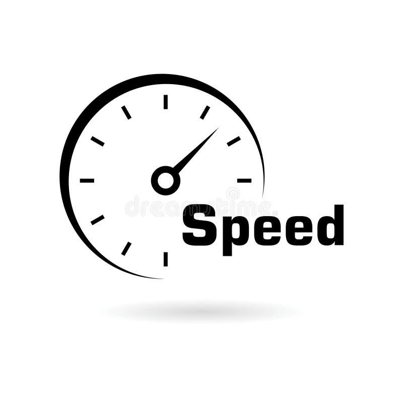 Ícone do velocímetro ou logotipo preto, medidor de velocidade ilustração do vetor