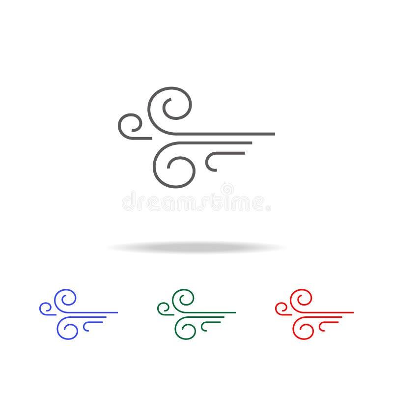 Ícone do vento Elementos do tempo em multi ícones coloridos Ícone superior do projeto gráfico da qualidade Ícone simples para Web ilustração royalty free