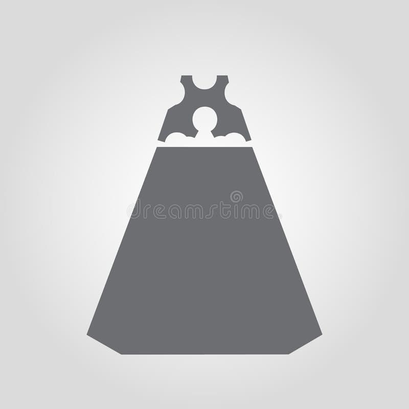 Ícone do vestido Ícone clássico do vestido do alargamento ilustração stock