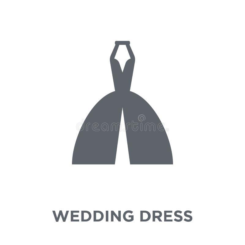 Ícone do vestido de casamento da coleção do casamento e do amor ilustração royalty free