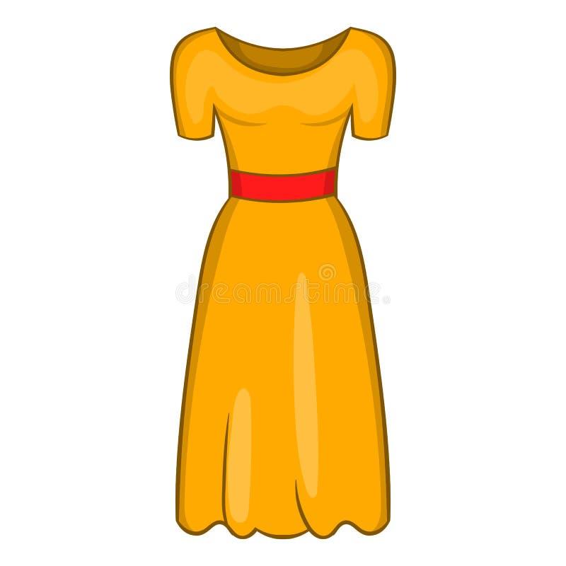 Ícone do vestido de fantasia das mulheres, estilo dos desenhos animados ilustração stock