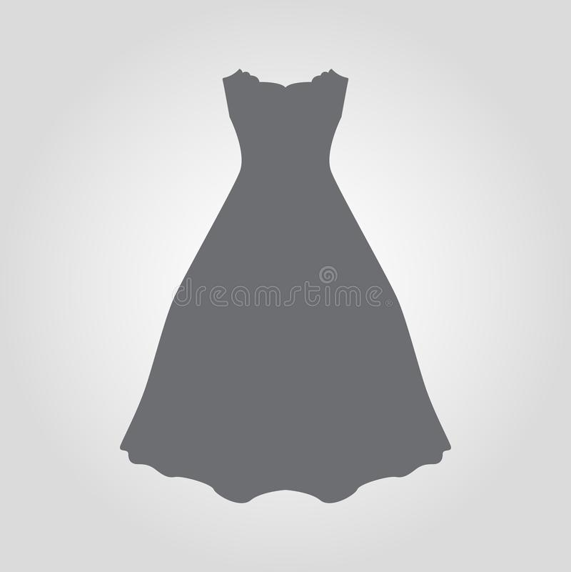 Ícone do vestido Ícone maxi sem alças do vestido do alargamento ilustração stock