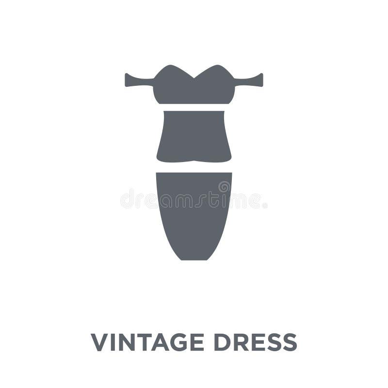 ícone do vestido do vintage da coleção do vestido do vintage ilustração stock