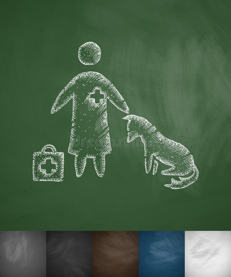 Ícone do veterinário e do cão ilustração stock
