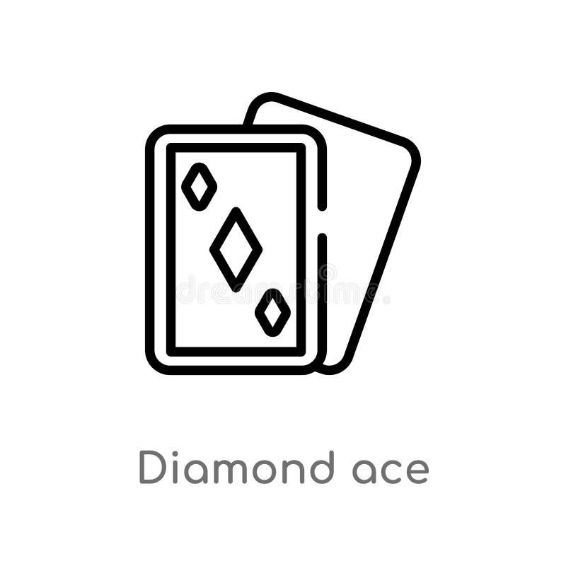 ícone do vetor do ás do diamante do esboço linha simples preta isolada ilustra??o do elemento do conceito do entretenimento Vetor ilustração royalty free