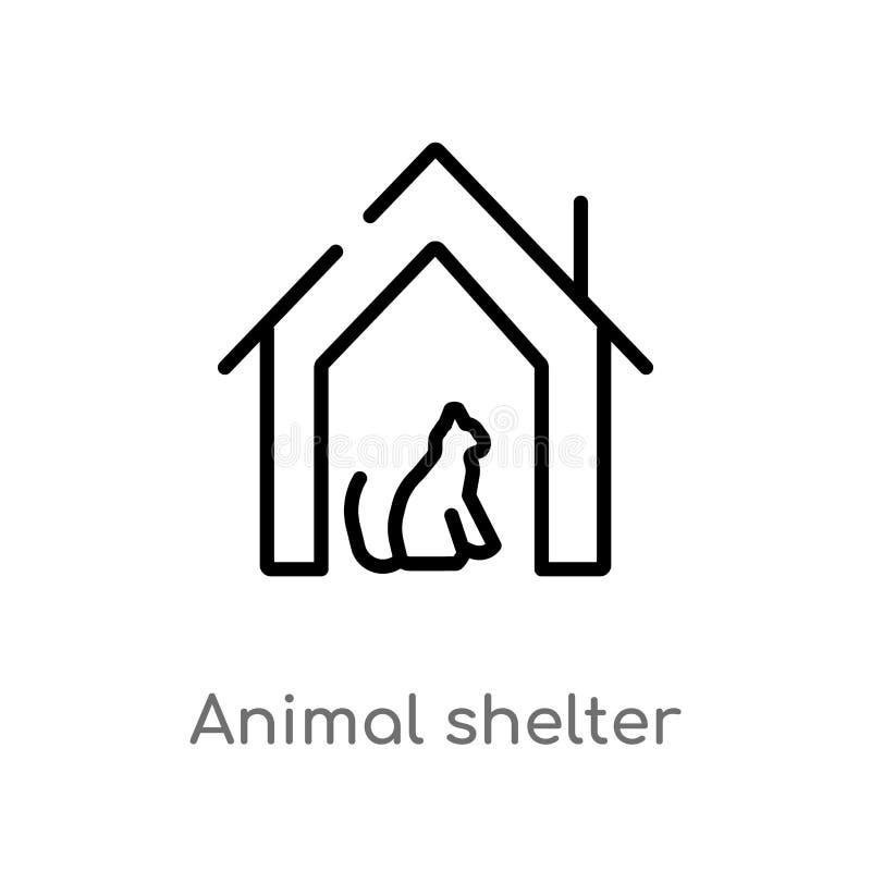 ícone do vetor do abrigo animal do esboço linha simples preta isolada ilustração do elemento do conceito da caridade Curso editáv ilustração stock