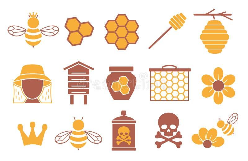 Ícone do vetor ajustado criando o infographics relativo às abelhas, à polinização e à apicultura como o frasco do mel, a flor e o ilustração do vetor