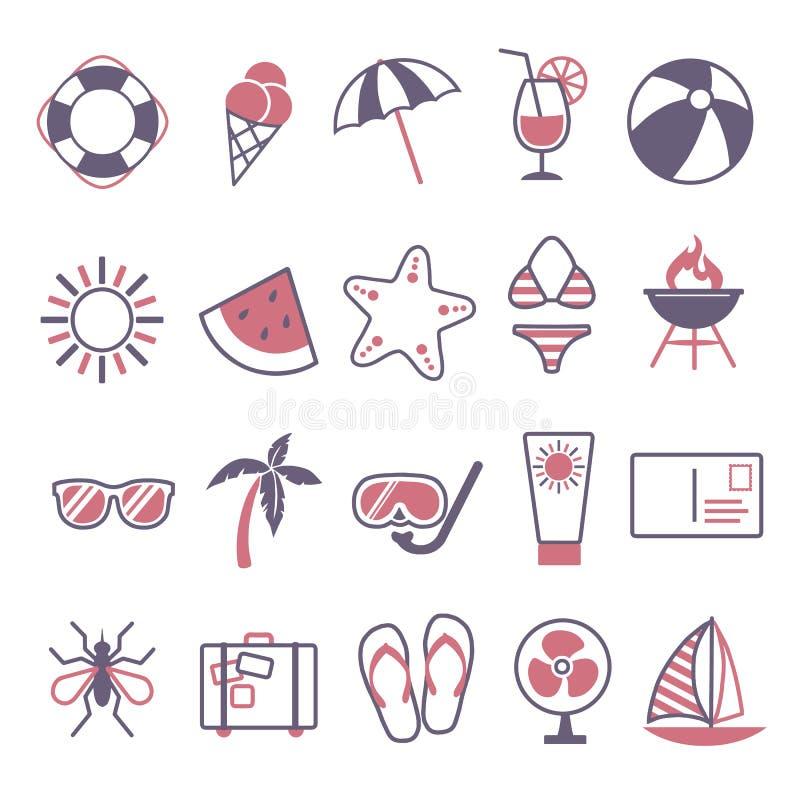 Ícone do vetor ajustado criando o infographics relativo ao verão, ao curso e às férias, como a bebida do cocktail, melancia, sol, ilustração stock