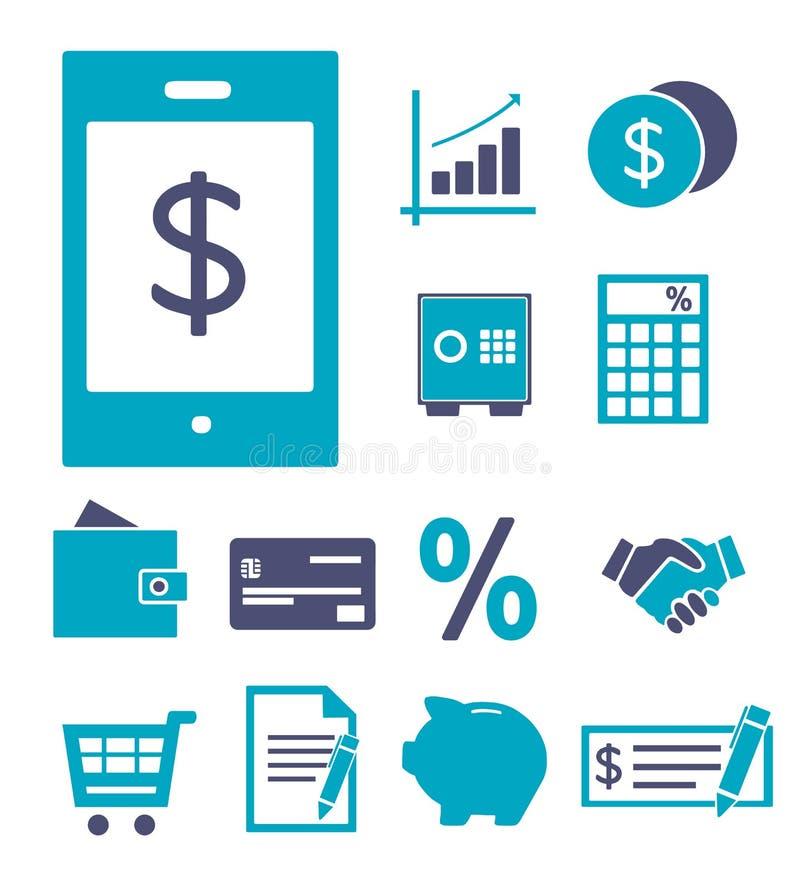 Ícone do vetor ajustado criando o infographics sobre finanças, operação bancária, compra e salvamento, incluindo o pagamento móve ilustração do vetor