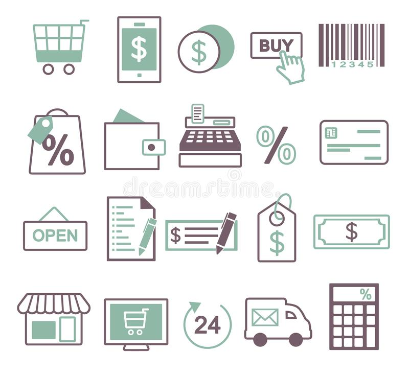Ícone do vetor ajustado criando o inforaphics relativo à compra, à venda em linha e ao comércio, incluindo o carrinho de compras, ilustração do vetor