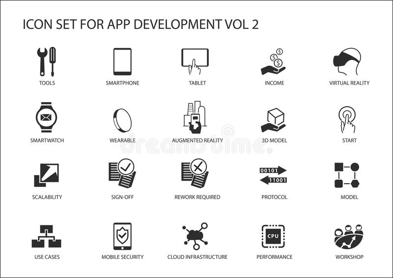 Ícone do vetor ajustado para o app/desenvolvimento de aplicações Ícones e símbolos reusáveis ilustração royalty free