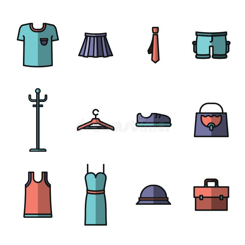 Ícone do vetor ajustado para o vestuário e a forma ilustração do vetor