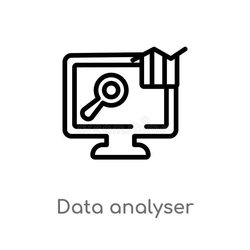 ?cone do vetor do analisador dos dados do esbo?o linha simples preta isolada ilustra??o do elemento do conceito do computador Cur ilustração royalty free