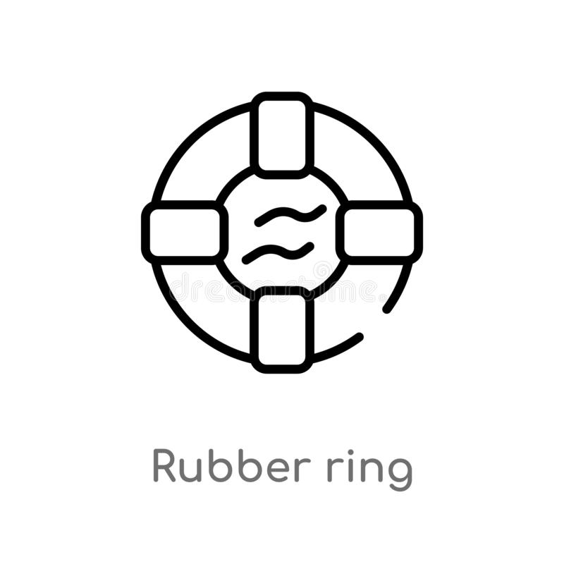 ícone do vetor do anel de borracha do esboço linha simples preta isolada ilustração do elemento do conceito do verão Curso editáv ilustração royalty free