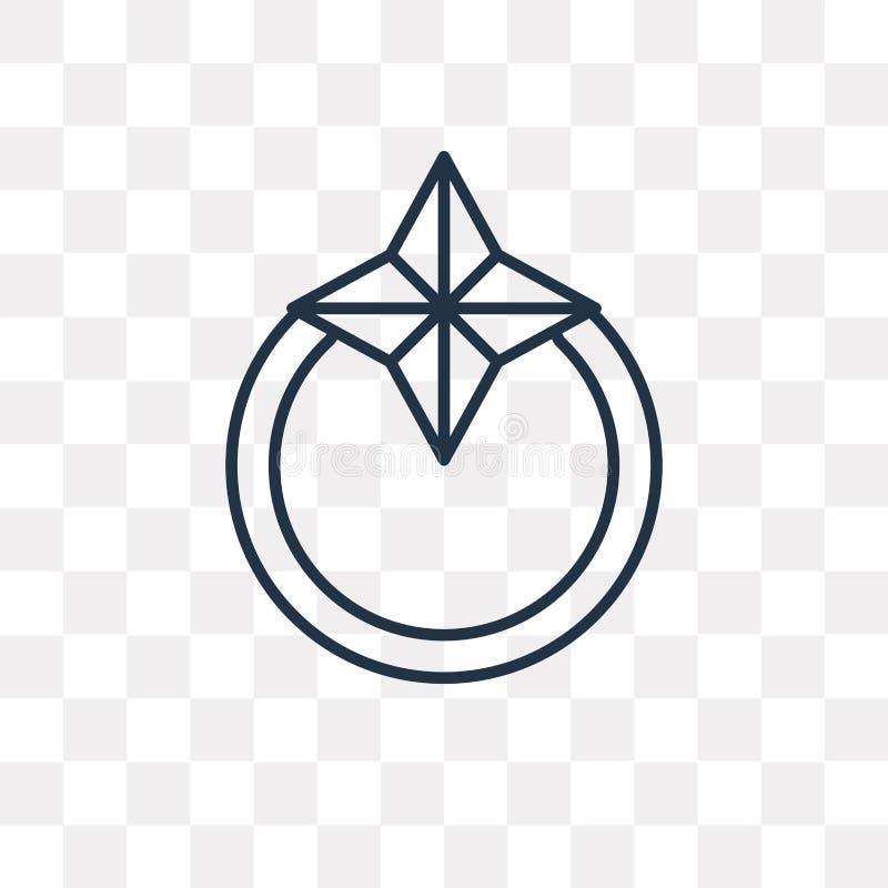 Ícone do vetor do anel de diamante isolado no fundo transparente, lin ilustração royalty free