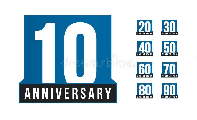 Ícone do vetor do aniversário Molde do logotipo do aniversário Elemento do desig do cartão Emblema simples da década do negócio R ilustração royalty free