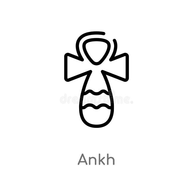 ícone do vetor do ankh do esboço linha simples preta isolada ilustração do elemento do conceito de África ícone editável do ankh  ilustração do vetor