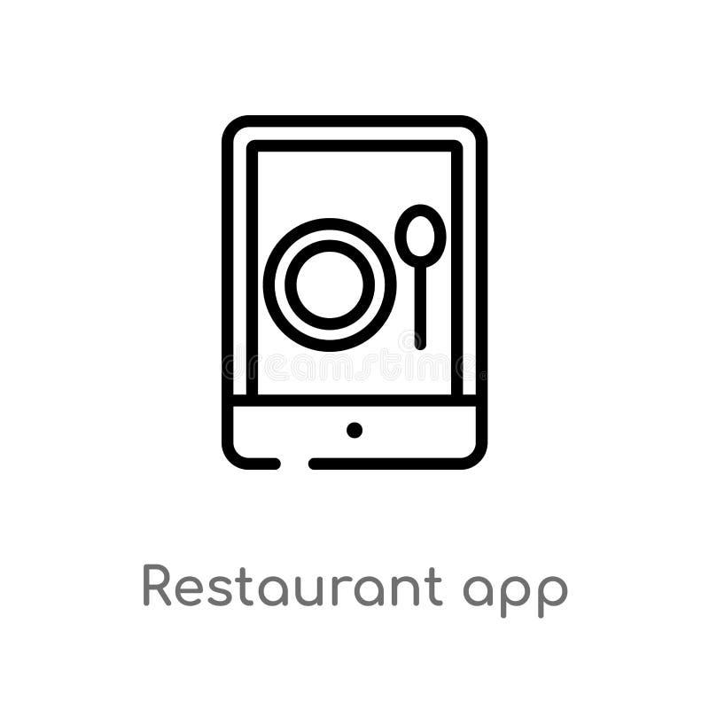 ícone do vetor do app do restaurante do esboço linha simples preta isolada ilustração do elemento do conceito do computador Curso ilustração royalty free