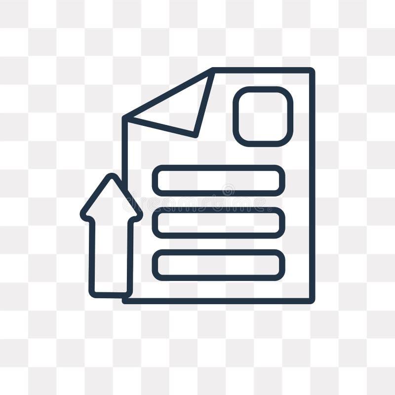 Ícone do vetor do arquivo isolado no fundo transparente, arquivo linear ilustração do vetor
