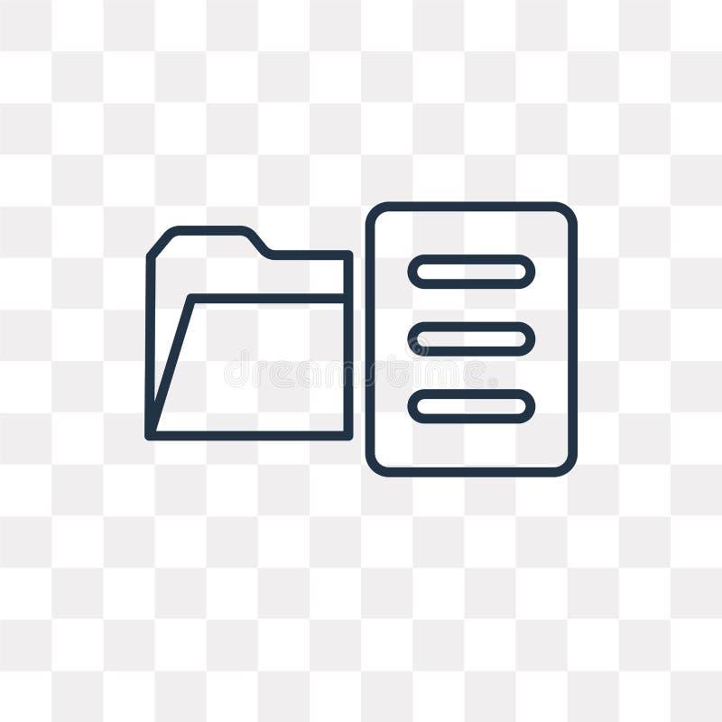 Ícone do vetor do arquivo isolado no fundo transparente, arquivo linear ilustração stock