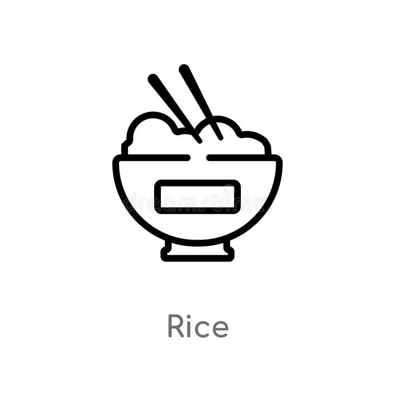 ícone do vetor do arroz do esboço linha simples preta isolada ilustra??o do elemento do conceito asi?tico ícone editável do arroz ilustração royalty free