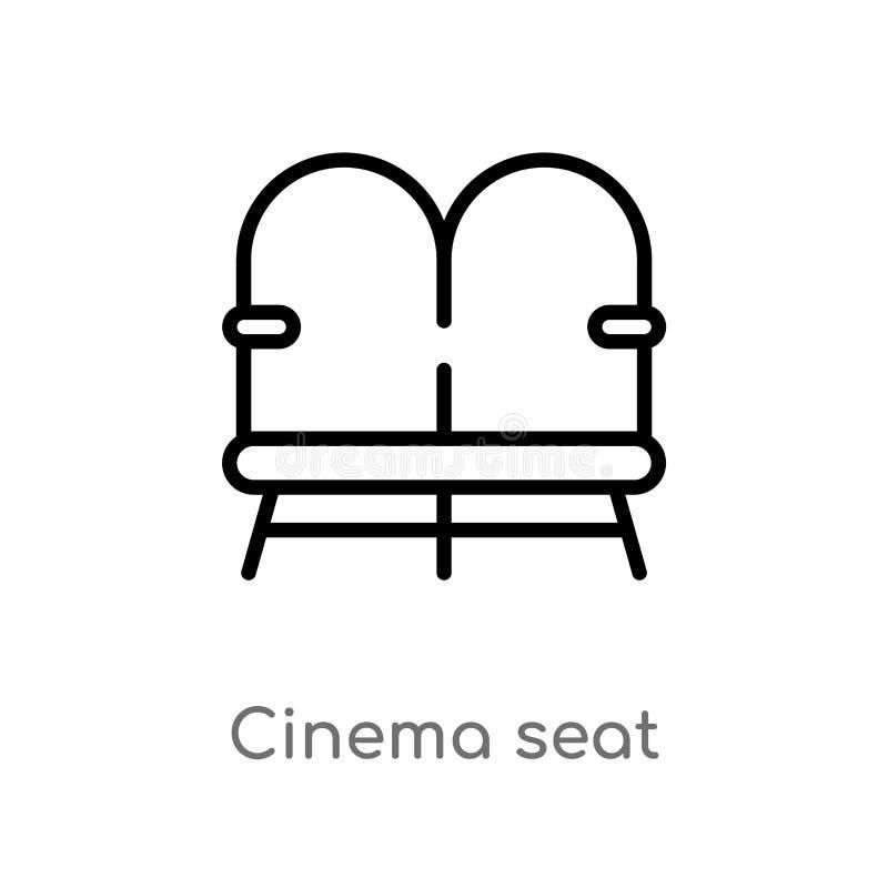 ícone do vetor do assento do cinema do esboço linha simples preta isolada ilustra??o do elemento do entretenimento e do conceito  ilustração stock