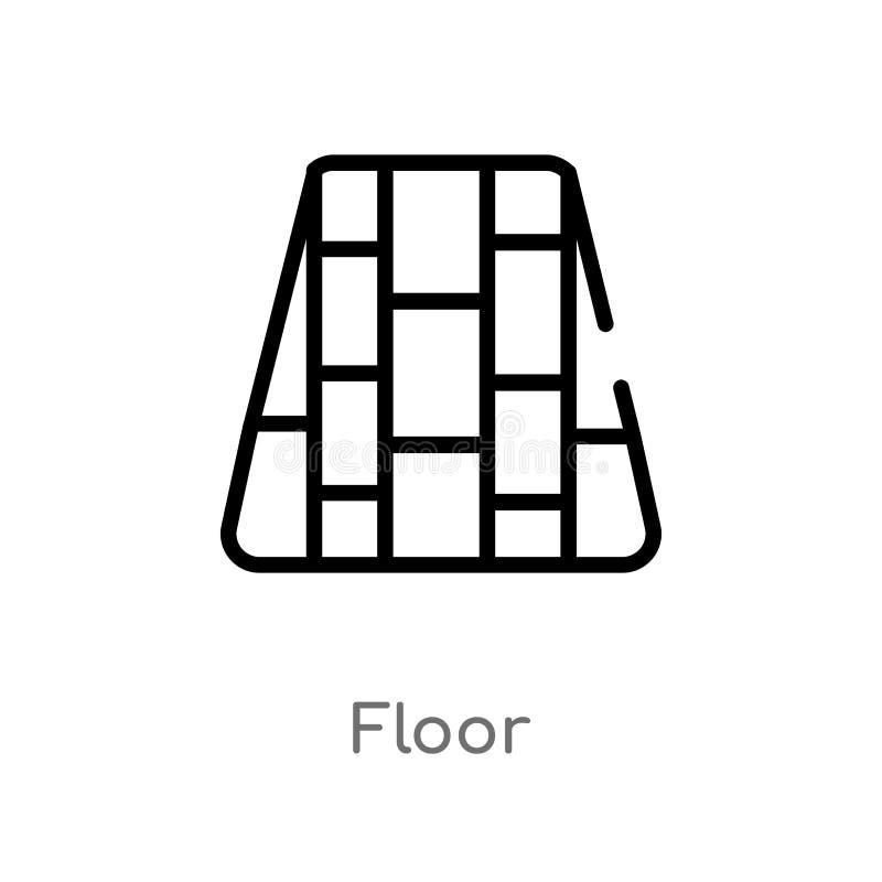 ícone do vetor do assoalho do esboço linha simples preta isolada ilustração do elemento do conceito da mobília & do agregado fami ilustração do vetor