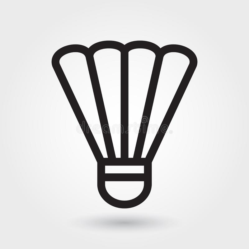 Ícone do vetor do badminton, ícone da peteca, símbolo dos esportes Esboço moderno, simples, ilustração do vetor do esboço ilustração stock