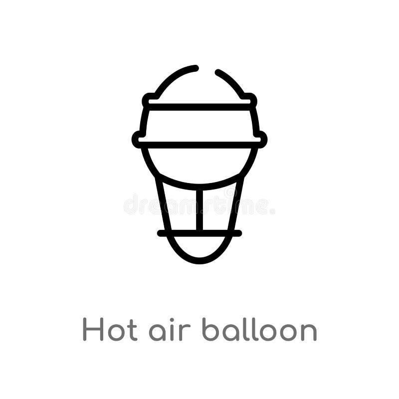 Ícone do vetor do balão de ar quente do esboço linha simples preta isolada ilustra??o do elemento do conceito do brazilia Curso e ilustração do vetor