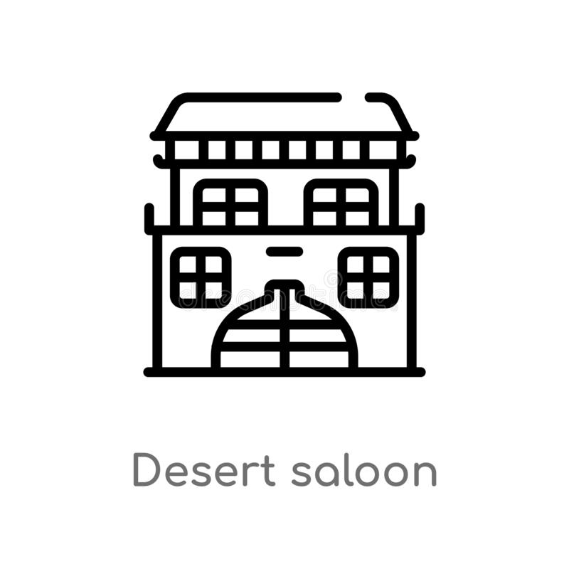 ícone do vetor do bar do deserto do esboço linha simples preta isolada ilustração do elemento do conceito do deserto Curso editáv ilustração royalty free