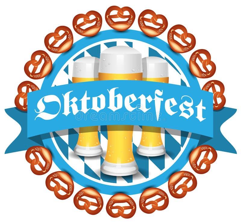 Ícone do vetor do bavaria de Oktoberfest com cerveja e pretzeis ilustração royalty free