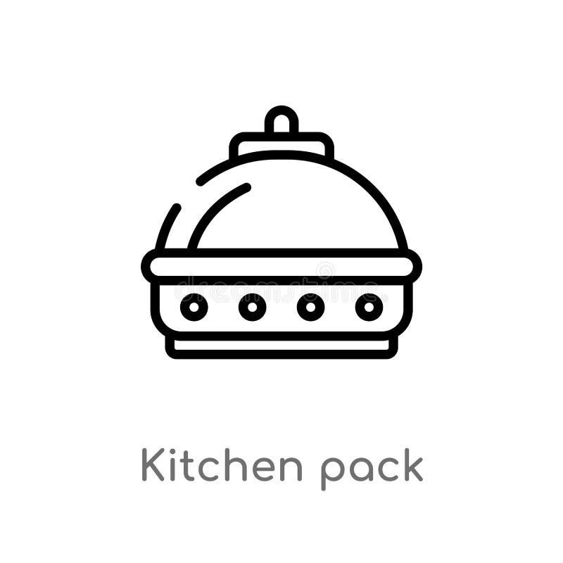 ícone do vetor do bloco da cozinha do esboço linha simples preta isolada ilustração do elemento do conceito do alimento Curso edi ilustração royalty free