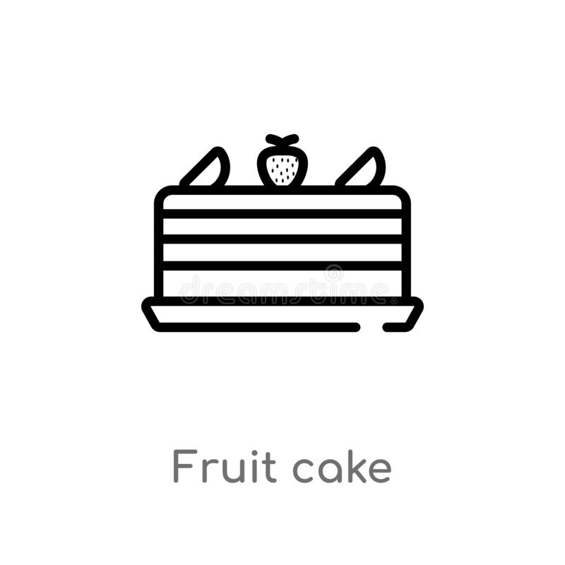 ícone do vetor do bolo do fruto do esboço linha simples preta isolada ilustração do elemento do conceito do alimento fruto editáv ilustração royalty free
