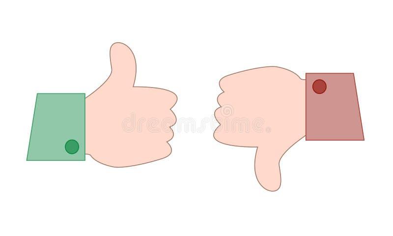 ícone do vetor bonito como e do desagrado no estilo liso simples dos desenhos animados ilustração stock