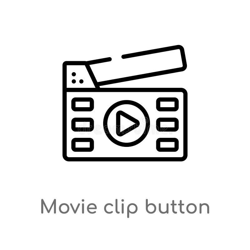 ícone do vetor do botão do grampo do filme do esboço linha simples preta isolada ilustra??o do elemento do conceito dos multim?di ilustração stock