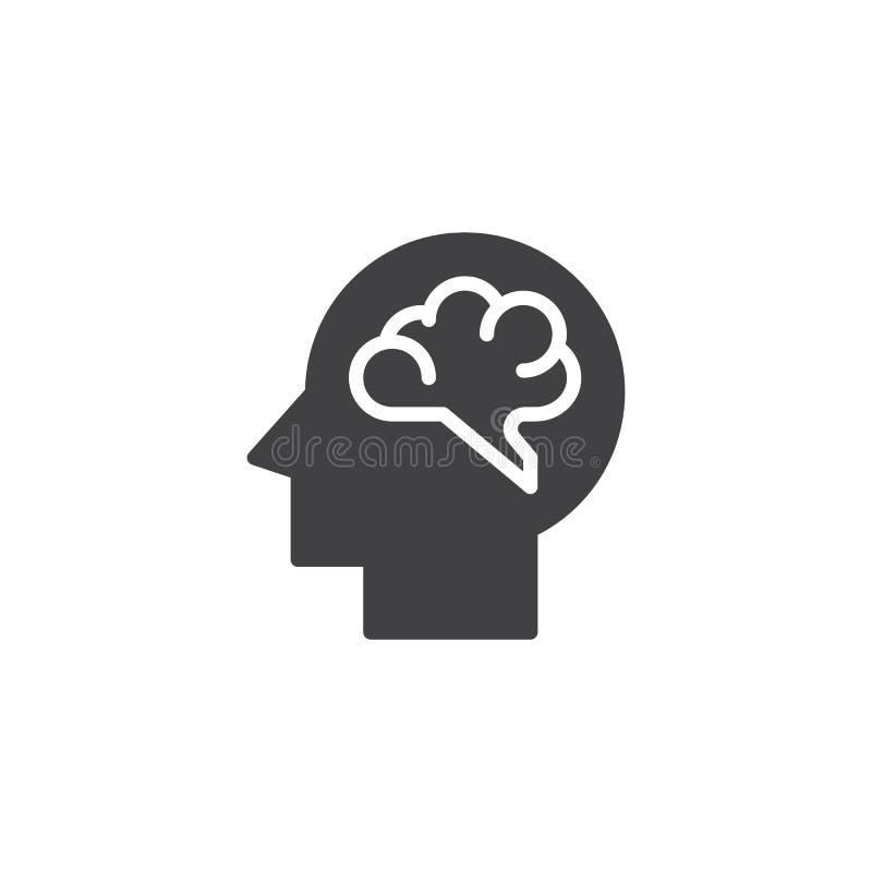 Ícone do vetor do cérebro humano ilustração royalty free