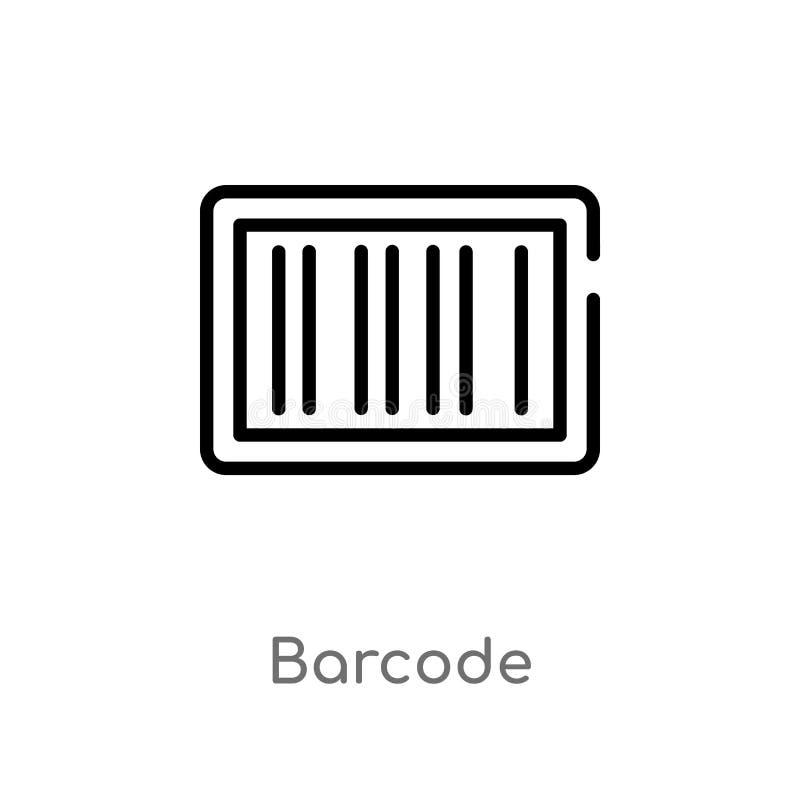 ícone do vetor do código de barras do esboço linha simples preta isolada ilustração do elemento da entrega e do conceito logístic ilustração do vetor