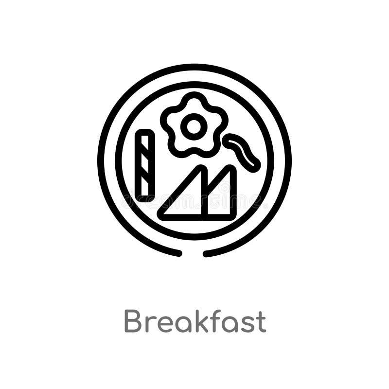 ícone do vetor do café da manhã do esboço linha simples preta isolada ilustração do elemento do conceito da acomodação Curso edit ilustração do vetor
