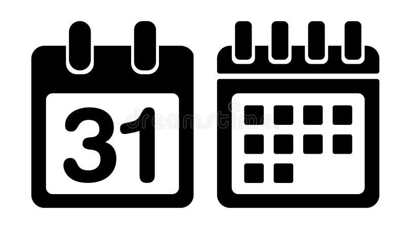 Ícone do vetor do calendário ilustração stock