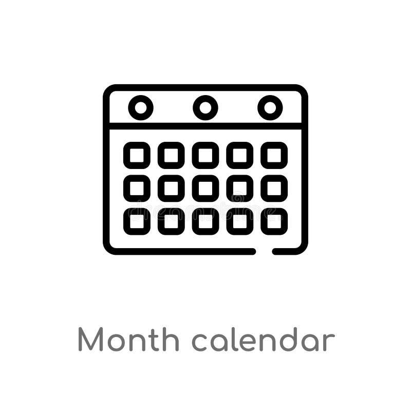 ícone do vetor do calendário do mês do esboço linha simples preta isolada ilustra??o do elemento do tempo e do conceito da data V ilustração do vetor