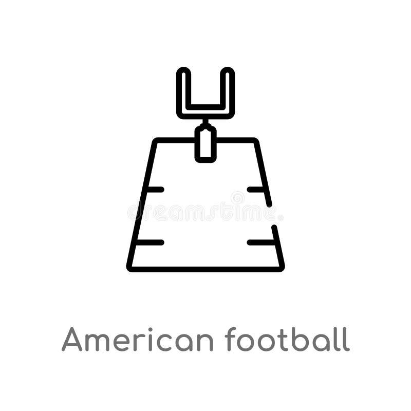 ícone do vetor do campo de futebol americano do esboço linha simples preta isolada ilustração do elemento do conceito do futebol  ilustração stock