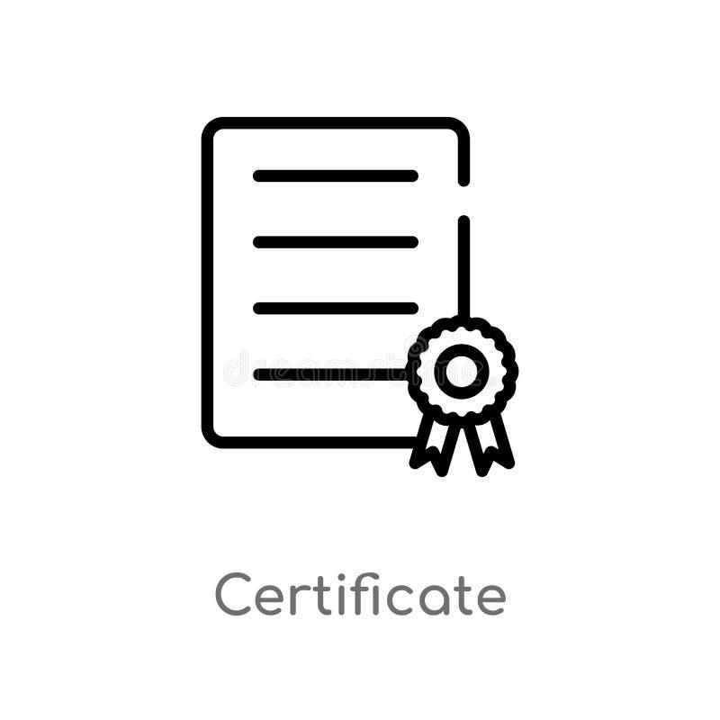 ?cone do vetor do certificado do esbo?o linha simples preta isolada ilustra??o do elemento da entrega e do conceito log?stico edi ilustração stock
