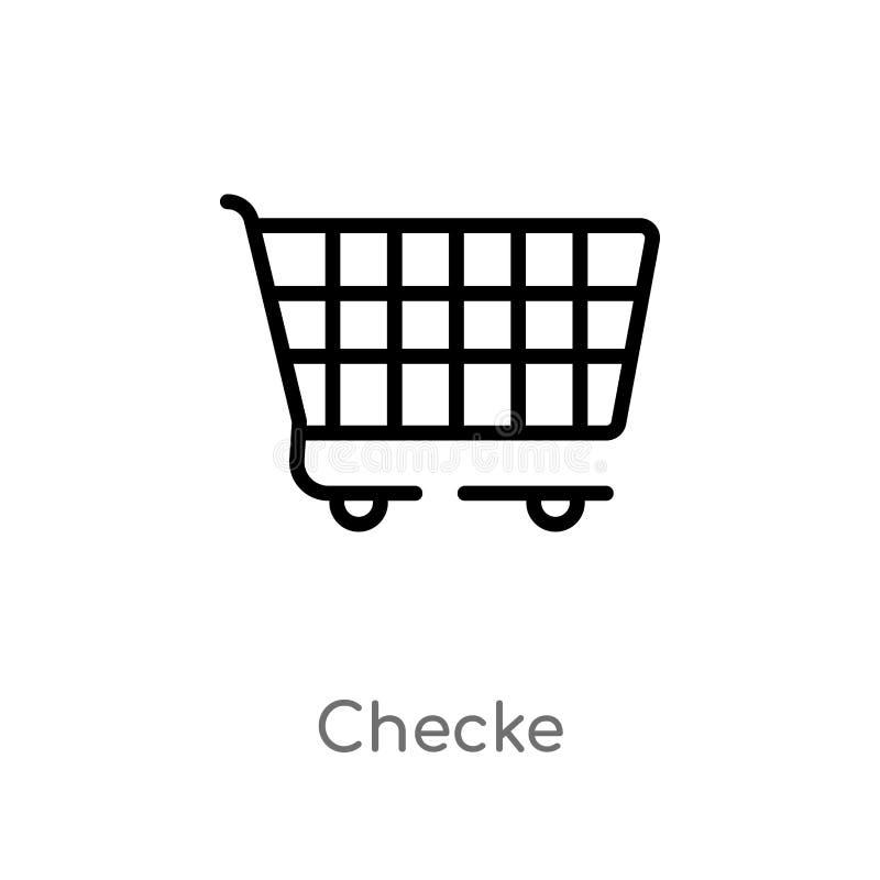 ícone do vetor do checke do esboço linha simples preta isolada ilustração do elemento do conceito do comércio checke editável do  ilustração stock