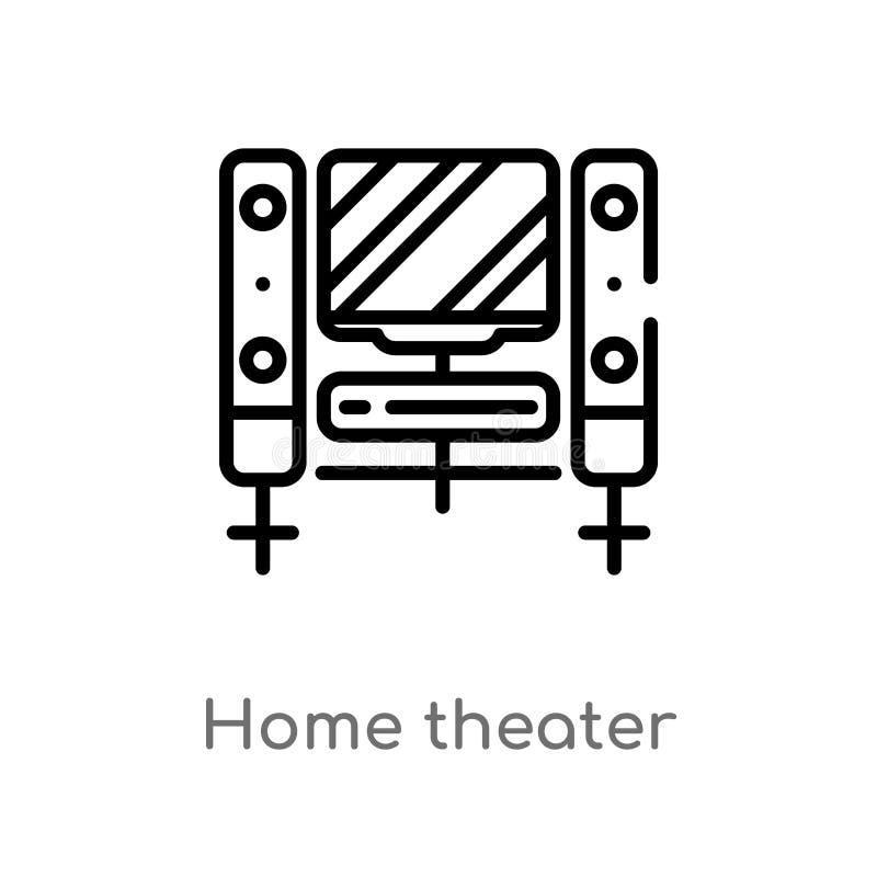 ?cone do vetor do cinema em casa do esbo?o linha simples preta isolada ilustra??o do elemento do conceito do cinema casa edit?vel ilustração stock