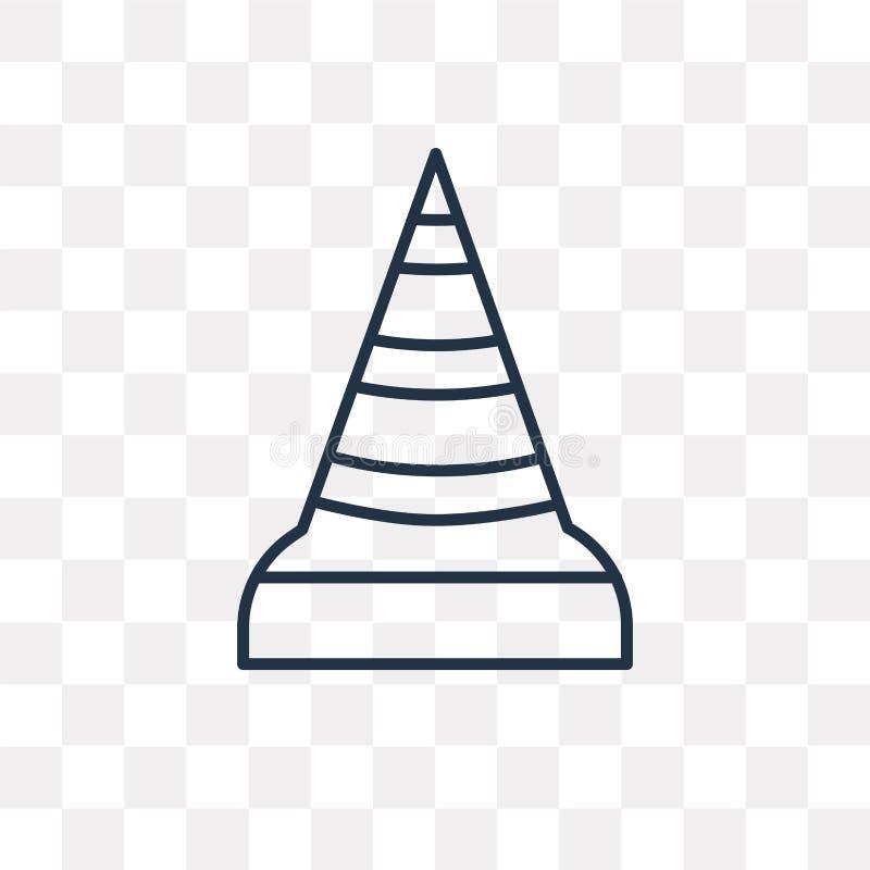 Ícone do vetor do cone do tráfego isolado no fundo transparente, lin ilustração royalty free