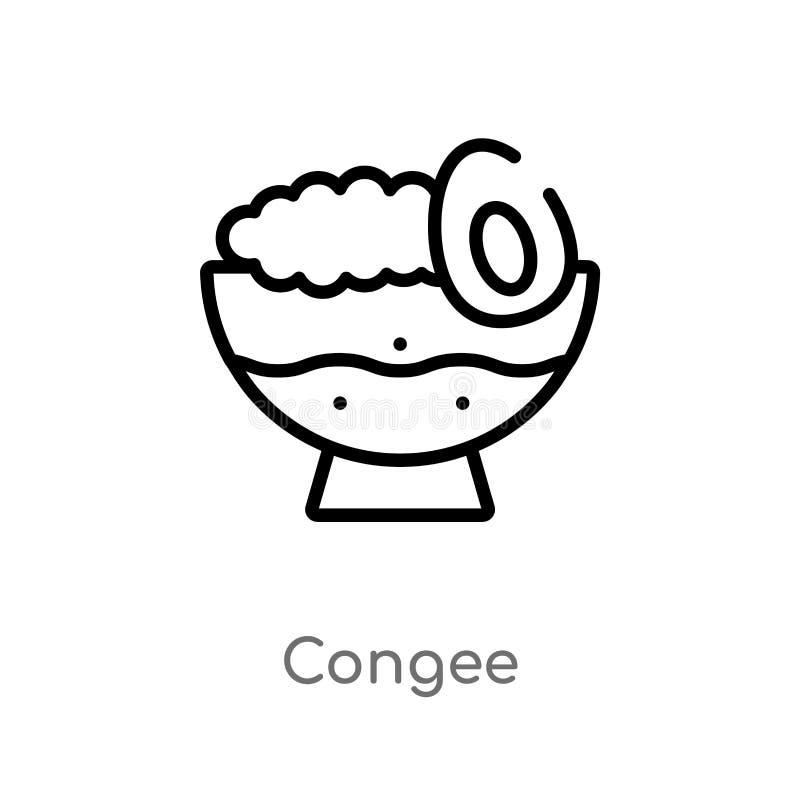ícone do vetor do congee do esboço linha simples preta isolada ilustração do elemento do alimento e do conceito do restaurante Ve ilustração do vetor