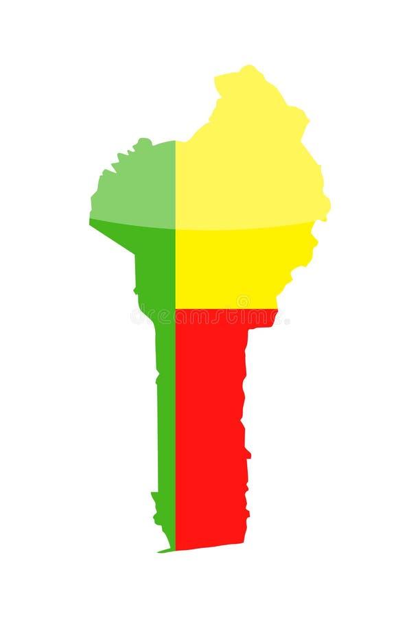 Ícone do vetor do contorno do país da bandeira de Benin ilustração do vetor