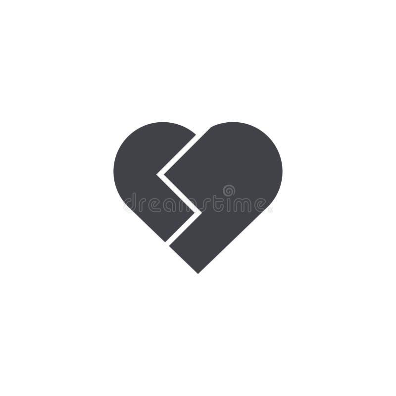 Ícone do vetor do coração quebrado Flocos de neve Emoji do coração Etiqueta do coração Dia do ` s do Valentim do símbolo do amor  ilustração stock