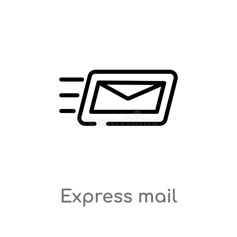 ícone do vetor do correio expresso do esboço linha simples preta isolada ilustração do elemento da entrega e do conceito logístic ilustração do vetor